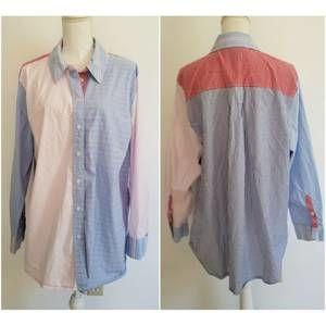 Lane Bryant 22 Shirt Red White Blue Stripe Check